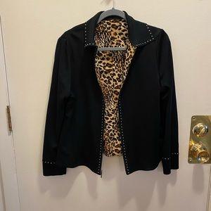 Ming Wang Reversible Black/Animal Print Jacket M/L